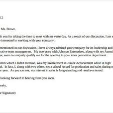 Sample Thank You Letter After High School Interview Cover Letter