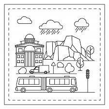 Stad Kleurplaat Voor Kinderen Vector Premium Download
