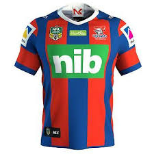 isc newcastle knights 2018 home rugby shirt blue and red