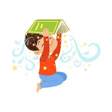 cartoon little boy holding open magic book over his head cute kid character in