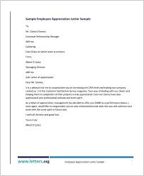 Letter Of Recognition Examples Employee Recognition Letter Template Thank You Letters For
