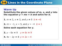 warm up substitute the given values of m x and y into the equation