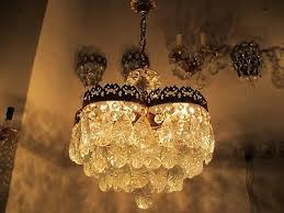antique vnt french huge basket style crystal chandelier lamp 1940 s 18in diame