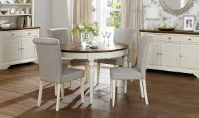 pine island wood round extendable dining table come with white stained base and grey fabric modern