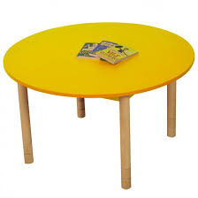 height adjule round table yellow
