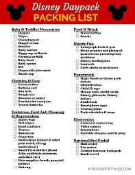 Packing List For Your Disney Daypack (Free Printable!) - Trips With ...