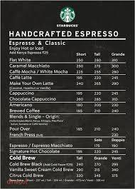 Menu Of Starbucks Park Street Kolkata Dineout