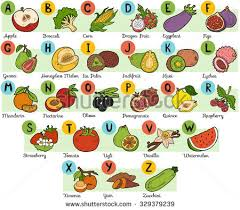 stock vector color alphabet for children fruits and ve ables a z