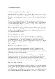 Resume For Stay At Home Mom Going Back To Work Cover Letter For