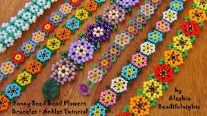 Seed Bead Patterns Beauteous Fancy Seed Bead Flowers Bracelet Tutorial YouTube