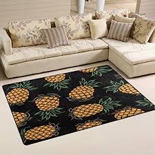 wozo watercolor pineapple fashion area rug rugs non slip floor mat doormats living room bedroom