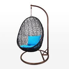 black co swing chair blue cushion