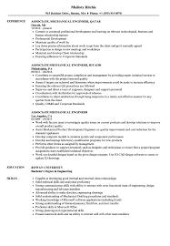 Associate Mechanical Engineer Resume Sample Example Samples Velvet