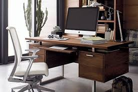 Walnut home office furniture Shaped Clybourn Desk Squared Stainless Steel Sled Legs Neginegolestan 25 Best Desks For The Home Office Man Of Many