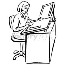 teacher desk clipart black and white. Simple Desk Black And White Woman Sitting At A Desk Using Ruler On A Large Piece Of To Teacher Clipart And C