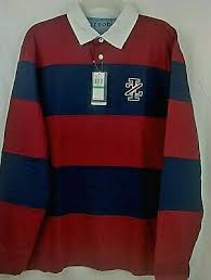 izod mens rugby shirt polo red blue stripe long sleeve size large