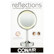 conair double sided lighted vanity mirror 1x 5x magnification chrome walmart