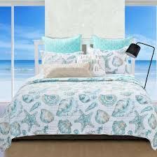 quilt set queen beach bedding blue