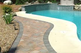 stamped concrete pool patio. Poolside Brick Patio Stamped Concrete Pool
