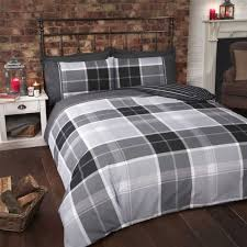 tartan check stripe black grey white cotton blend double duvet cover
