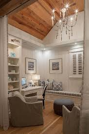 office wainscoting ideas. home office den ideas small with reclaimed plank wood ceiling vertical shiplap wainscoting and builtin cabinetry c