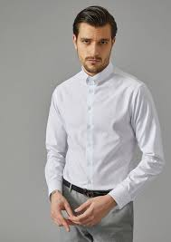 giorgio armani men s solid cotton shirt with small collar 62433wnw white