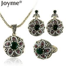 joyme vintage african indian jewelry set round flower necklace sets bridesmaid earrings