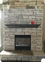 how to paint a stone fireplace in progress full view