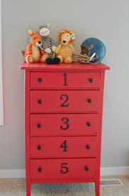 kids bedroom dresser. painted red dresser with numbers - just adore this decor. i might do kids bedroom