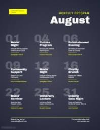 Calender Design Template 190 Customizable Design Templates For Calendar Postermywall