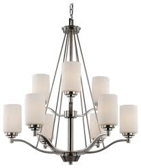trans globe lighting 70529 bn mod space 9 light chandelier brushed nickel