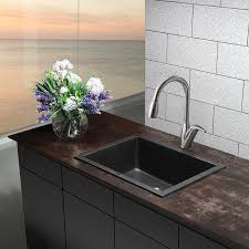 Composite Granite Kitchen Sinks Kraus Kgd 410b 24 2 5 Inch Dual Mount Single Bowl Black Onyx