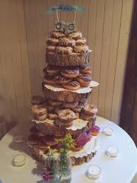 Rustic Wood Tree Slice 4 Tier Donut Or Cupcake Stand For Your
