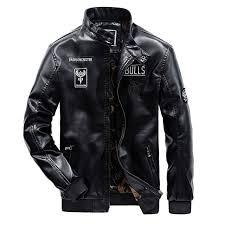 new mens leather jacket winter designer stand collar plus size pu black moto jacket coat men