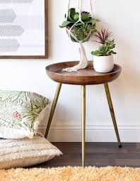 Mid century modern furniture White Round Mid Century Modern Retro Wood End Table With Brass Gold Legs Diy Network Modern Geometric Gold Finish Metal Mid Century Chairs Set Of