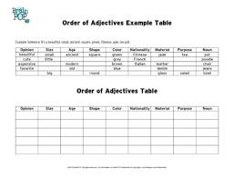 Order Of Adjectives Chart Brainpop Educators