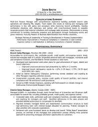 Resume For Branch Manager Branch Manager Resume Examples