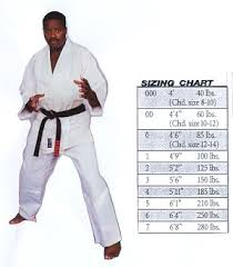 Karate Uniform Size Chart Gladiator Judo Uniform White