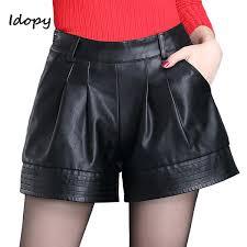 idopy fashion womens pu leather shorts female loose fit dd y shorts night club mini short