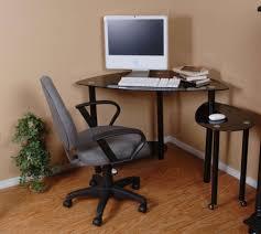 small corner furniture. Furniture : Minimalist Black High Gloss Small Corner Computer Desk Ideas With Comfortable Laminated Grey Work Chair Plus Triped Wood Floor Smart Savvy