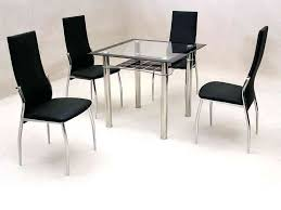 small square glass dining table and 4 chairs clear black furniture beautiful din