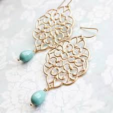 gold filigree earrings big dangle large chandelier turquoise pea