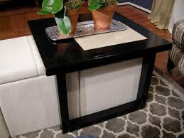 Coffee Table, Mesmerizing Black Square Modern Laminated Wood Coffee Table  With Storage Ottomans In White