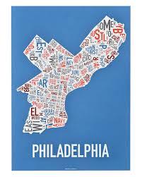 philadelphia neighborhood map  x  multicolor screenprint
