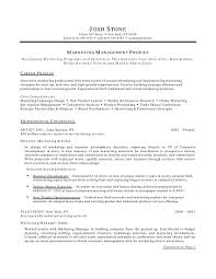 Examples Of Marketing Resumes Marketing Management Profile Resume