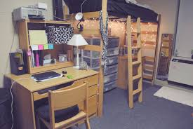 traditional wooden dorm room furniture set with loft bed aside desk plus pyramid white table lamp
