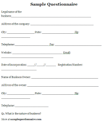Sample Questionare Questionnaire Sample Questionnaire