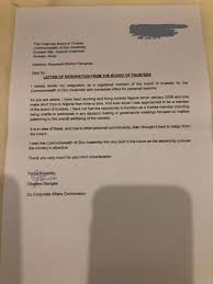 Resignation From Board Why I Resigned Board Member Of Coza Speaks Daily Advent