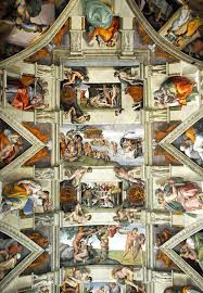 in order to frame the central old testament scenes michelangelo painted a fictive architectural molding and supporting statues down the length of the