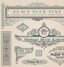 vintage frame border. Set Of Frame, Border, Ornament Element In Vintage Style Vector 04 Frame Border